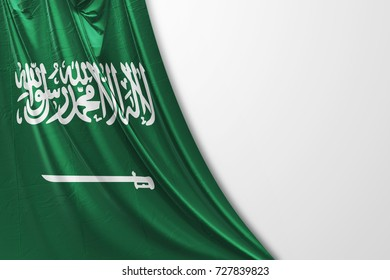 Saudi Arabia big realistic national flag curtain with copyspace