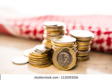 Saudi Arabia coins. Saudi Riyal coins. close up photography.