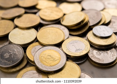 Saudi Arabia coins. Saudi Riyal coins. close up photography.