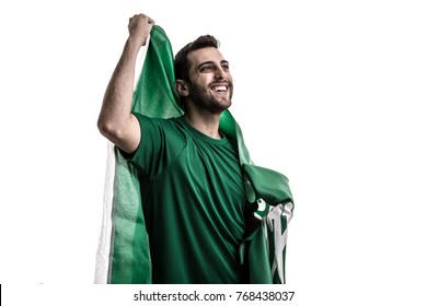 Saudi Arabia fan celebrating on white background