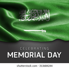 Saudi Arabia flag and Celebrating Memorial Day Typography on wood background