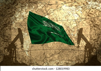 Saudi Arabia flag on the background of the world map with oil derricks and money