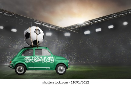 Saudi Arabia flag on car delivering soccer or football ball at stadium