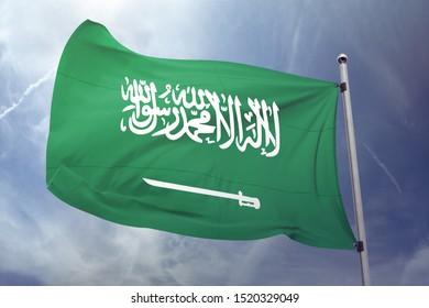 Saudi Arabia flag with sky background