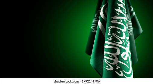 Saudi Arabia flags with a light from behind, use it for national day and country national occasions.