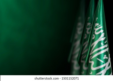 Saudi Arabia flags on a dark green background, use it for national day and country national occasions