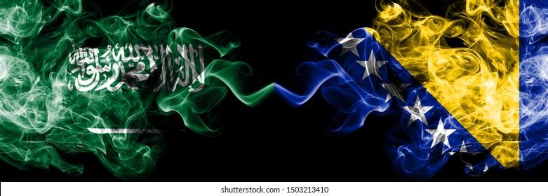 Saudi Arabia Kingdom vs Bosnia and Herzegovina, Bosnian smoky mystic flags placed side by side. Thick colored silky smoke flags of Arabic, Arabian and Bosnia and Herzegovina, Bosnian