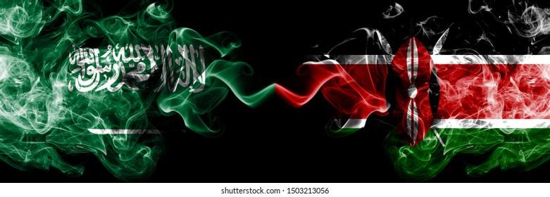 Saudi Arabia Kingdom vs Kenya, Kenyan smoky mystic flags placed side by side. Thick colored silky smoke flags of Arabic, Arabian and Kenya, Kenyan