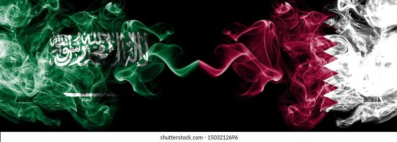 Saudi Arabia Kingdom vs Qatar, Qatari smoky mystic flags placed side by side. Thick colored silky smoke flags of Arabic, Arabian and Qatar, Qatari