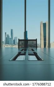 Saudi Arabia, KSA, Business office overlooking to Riyadh city (Al-Rajhi Bank tower) at 12 Jul 2020, conference room