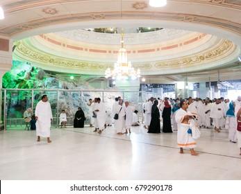 Saudi Arabia, MECCA, March 2017. Safa Mount, Muslim pilgrims perform saei (brisk walking) from Safa mount from Marwah mount
