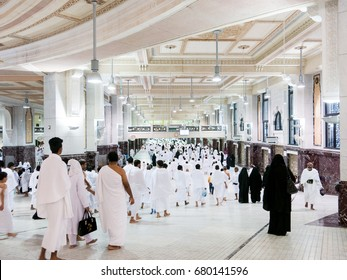 Saudi Arabia, MECCA, March 2017.  Muslim pilgrims perform saei (brisk walking) from Safa mount to Marwah mount