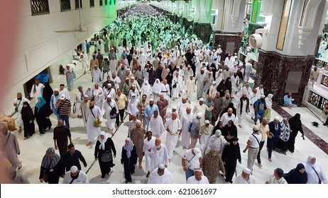 Saudi Arabia, MECCA, september 2016.,  Muslim pilgrims perform saei (brisk walking) from Safa mount from Marwah mount