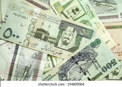 Saudi Arabia money, closeup background photo texture