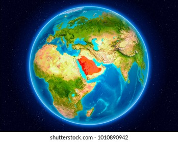 Saudi Arabia in red from Earths orbit. 3D illustration. Elements of this image furnished by NASA.