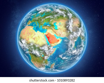 Saudi Arabia in red on model of planet Earth with clouds and atmosphere in space. 3D illustration. Elements of this image furnished by NASA.