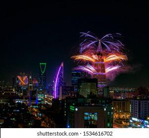 Saudi Arabia / in Riyadh City / at Riyadh Season / 17 Oct 2019 Fireworks in city centr, Al Faisaliah , Kingdom Centre