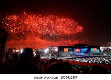 Saudi Arabia / in Riyadh City / at Riyadh Season / 17 Oct 2019 Fireworks in Riyadh boulevard