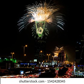 Saudi Arabia / in Riyadh City / at Riyadh Season / 24 Oct 2019 Fireworks in city centr, Al Faisaliah , Kingdom Centre