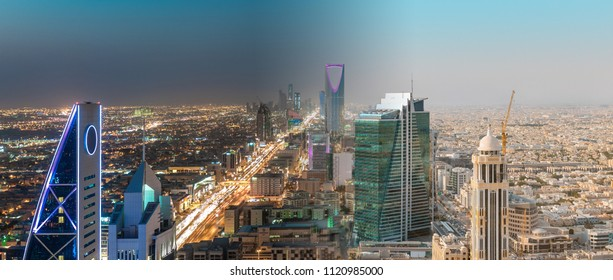 Saudi Arabia Riyadh Landscape Between Day and Night - Riyadh Tower Kingdom Centre, Kingdom Tower, Riyadh Skyline - Burj Al-Mamlaka, AlMamlakah - Riyadh at Daylight and Night Time - Tower View