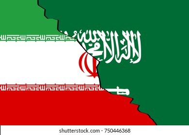 Saudi Arabia versus Iran as shown by two flags side by side in the frame with a crack separating the two.