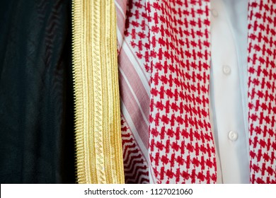 Saudi Arabian man wears luxury traditional Arabic clothes.