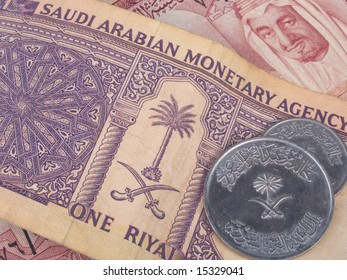 Saudi Arabian riyal banknotes and coins