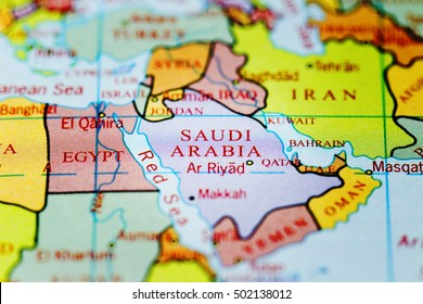 Saudi Arabiaon on colourful map with spot light effect