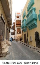 Saudi Jeddah February 16 2019 Old city in Jeddah Old city in Jeddah Saudi Arabia known as Historical Jeddah. Street view in  Balad Saudi Arabia 16-02-2019