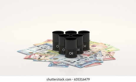 Saudi Riyal money background with oil barrel on top, ten, fifty, one hundred, and five hundred bills.