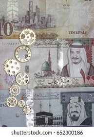 Saudi Riyals bank notes with makkah , medina , riyadh landmarks. Coins and gears Designed to show religious tourism supporting financial investment opportunities