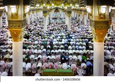 SaudiArabia,Madina-23/05/2019:Masjid nabwi pray tyime in madina munawara saudi arabia.
