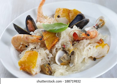 sauerkraut, shrimp, smoked haddock for French dish preparation