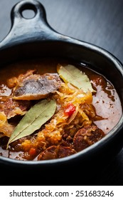 Sauerkraut soup - cabbage soup with mushrooms and sujuk ( spicy sausage)