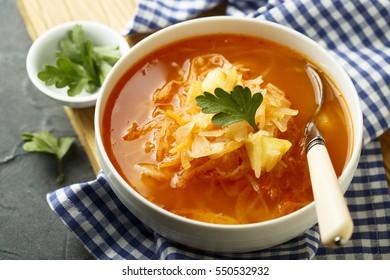 Sauerkraut soup with fresh parsley