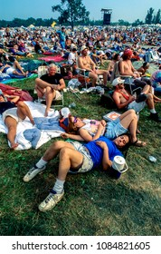 Saugerties, New York, USA, August 12, 1994. Crowd in front of the main stage on opening day of the 25Th anniversary of the Woodstock music festival