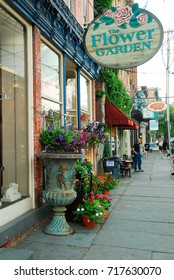 Saugerties, NY, USA June 1, 2008 A florist and gift shop displays their craft on the sidewalks of downtown Saugerties, New York.  The town is considered one of the coolest small towns in America