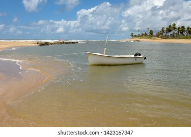Sauipe, Brazil - 29 January 2019: The coast of Sauipe on Bahia in Brazil