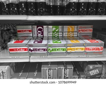 Saukville Wisconsin USA- April 27, 2018: New slim design cans of Diet Coke. 12 ounce can 8 packs are taller, with an updated logo with four new flavors: mango, cherry, ginger lime and blood orange.