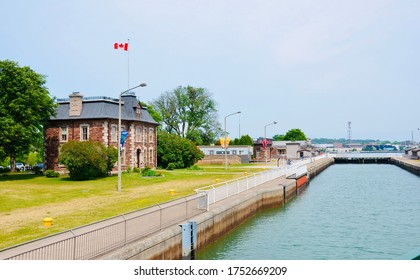 Sault Ste. Marie, ON, Canada-June 30, 2018 Historical building on the waterfront of the Soo Locks. The Canadian Locks now for recreational boaters traveling between Lake Superior and lower Great Lakes