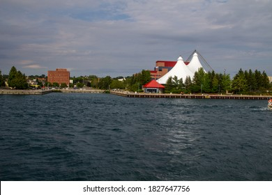 Sault Ste Marie, Ontario, Canada - August 9, 2015: The waterfront district of the small tourist town of Sault Ste Marie, Ontario located on the Great Lakes Coast.