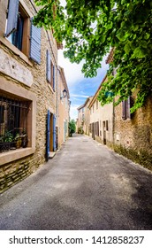 Saumane de Vaucluse, France - June 15, 2018. Street in small village in Provence in southeastern France, boyhood home of Marquis de Sade