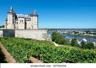 Saumur castle and Loire River, Loire Valley, France. Saumur Castle was built in the tenth century and rebuilt in the late twelfth century.