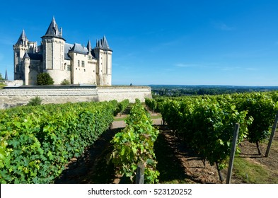 Saumur castle and Loire River, Loire Valley, France. Saumur Castle was built in the tenth century and rebuilt in the late twelfth century.