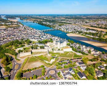 Saumur city aerial panoramic view, Loire valley in France