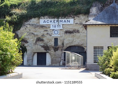 SAUMUR, FRANCE - AUGUST 5th, 2018 : Ackerman wine producer cellars entrance in Loire Valley