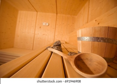 sauna with accessoires