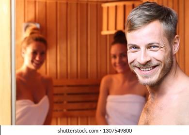 Sauna. A group of friends in the sauna.