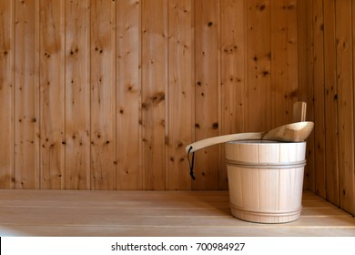sauna interior, bucket