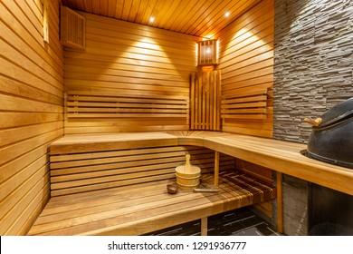 Sauna interior details - wooden bucket